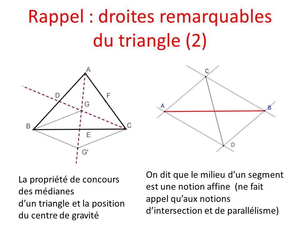 Rappel : droites remarquables du triangle (2) La propriété de concours des médianes dun triangle et la position du centre de gravité On dit que le mil