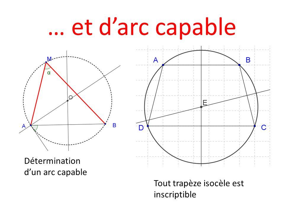 … et darc capable Détermination dun arc capable Tout trapèze isocèle est inscriptible