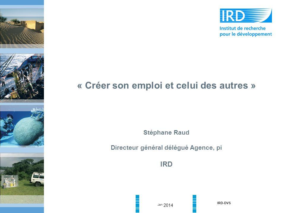Jan 2014 IRD-DVS « Créer son emploi et celui des autres » Stéphane Raud Directeur général délégué Agence, pi IRD