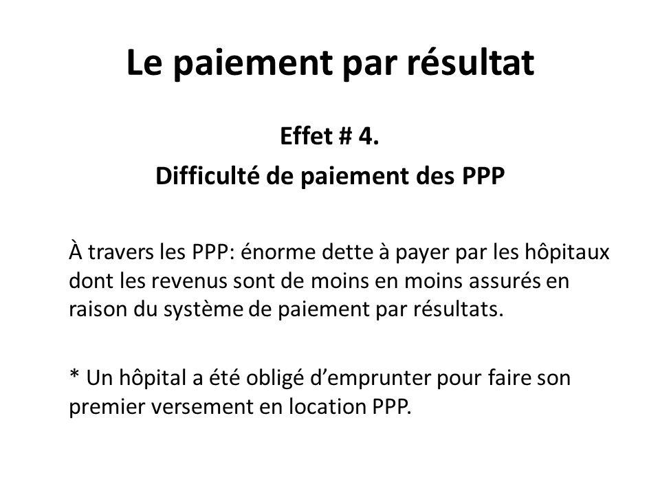 Le paiement par résultat Effet # 4. Difficulté de paiement des PPP À travers les PPP: énorme dette à payer par les hôpitaux dont les revenus sont de m