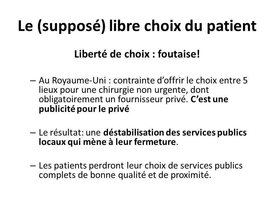 Le (supposé) libre choix du patient Liberté de choix : foutaise! – Au Royaume-Uni : contrainte doffrir le choix entre 5 lieux pour une chirurgie non u