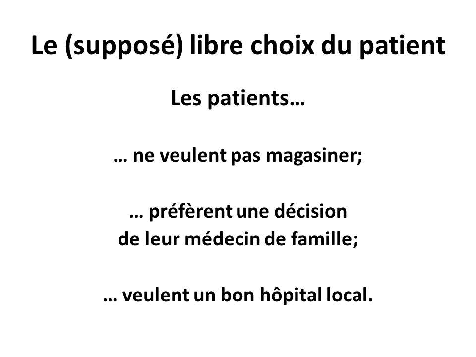 Le (supposé) libre choix du patient Les patients… … ne veulent pas magasiner; … préfèrent une décision de leur médecin de famille; … veulent un bon hô