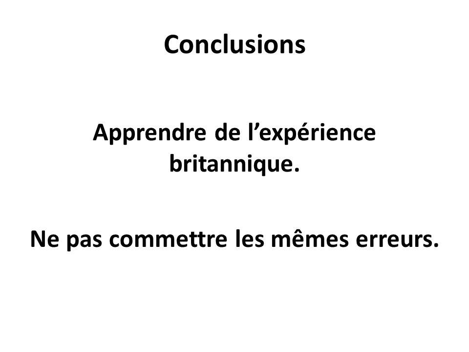 Conclusions Apprendre de lexpérience britannique. Ne pas commettre les mêmes erreurs.