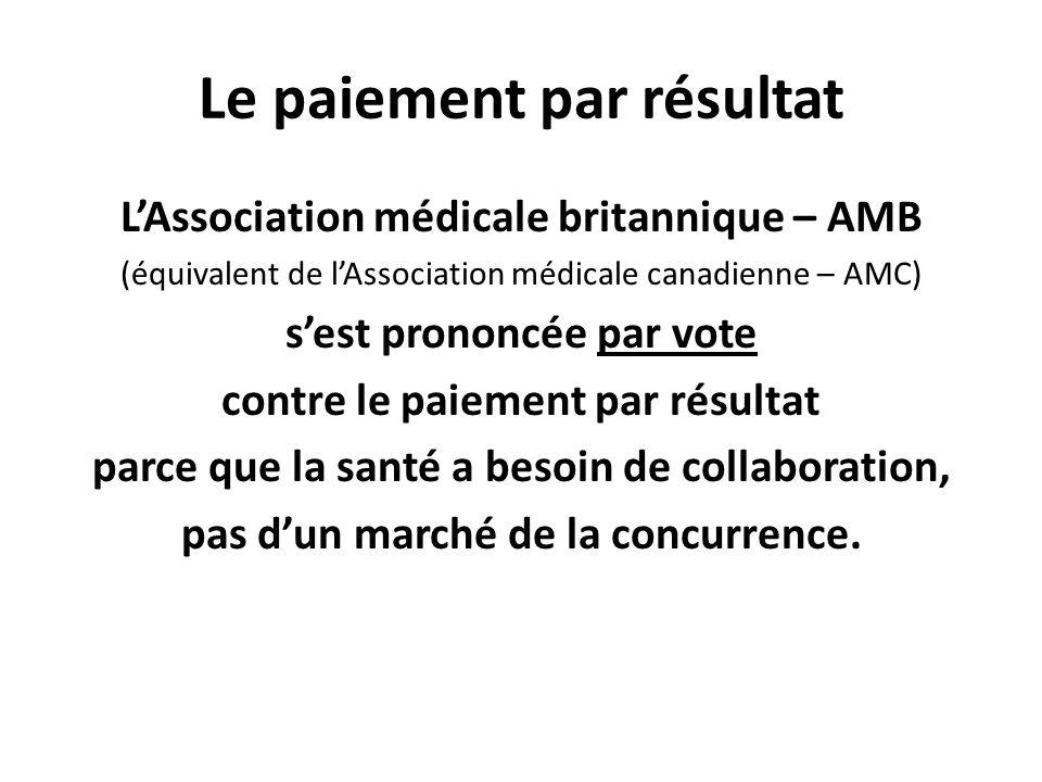 Le paiement par résultat LAssociation médicale britannique – AMB (équivalent de lAssociation médicale canadienne – AMC) sest prononcée par vote contre