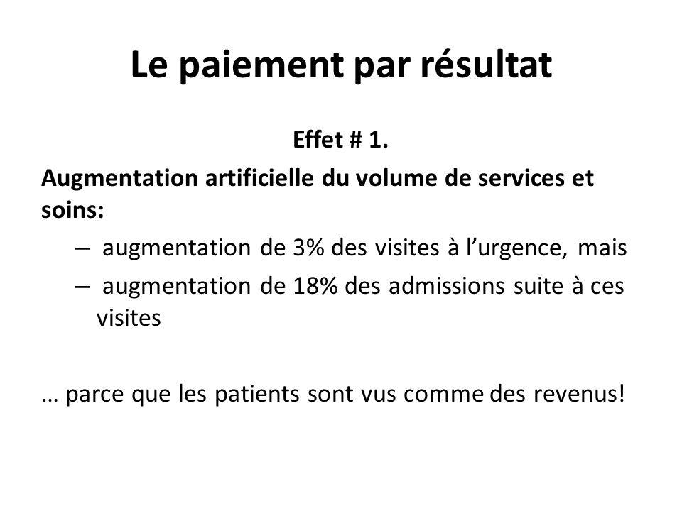 Le paiement par résultat Effet # 1. Augmentation artificielle du volume de services et soins: – augmentation de 3% des visites à lurgence, mais – augm