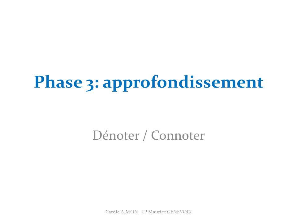 Phase 3: approfondissement Dénoter / Connoter Carole AIMON LP Maurice GENEVOIX