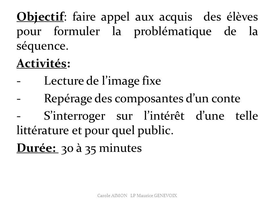 Objectif: faire appel aux acquis des élèves pour formuler la problématique de la séquence.