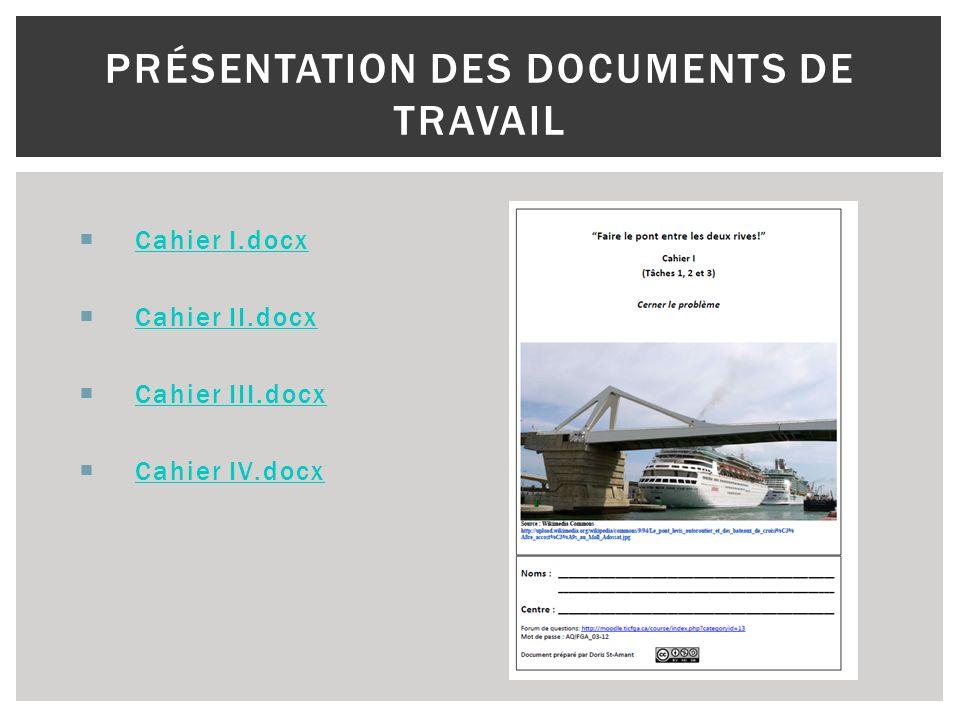 Cahier I.docx Cahier II.docx Cahier III.docx Cahier IV.docx PRÉSENTATION DES DOCUMENTS DE TRAVAIL