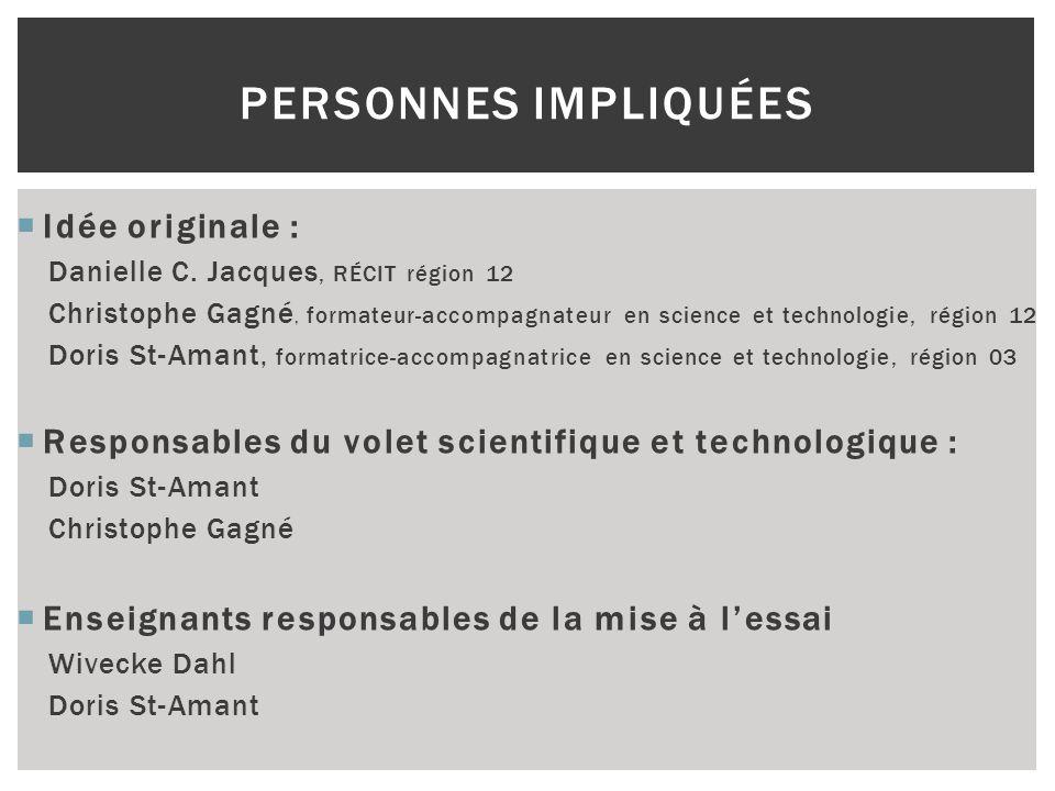 Idée originale : Danielle C. Jacques, RÉCIT région 12 Christophe Gagné, formateur-accompagnateur en science et technologie, région 12 Doris St-Amant,