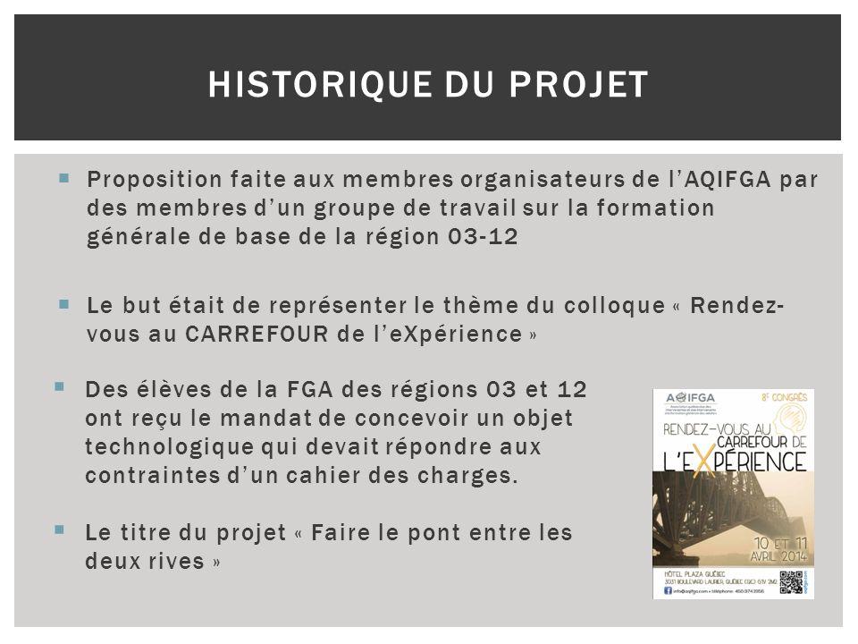Proposition faite aux membres organisateurs de lAQIFGA par des membres dun groupe de travail sur la formation générale de base de la région 03-12 Le b