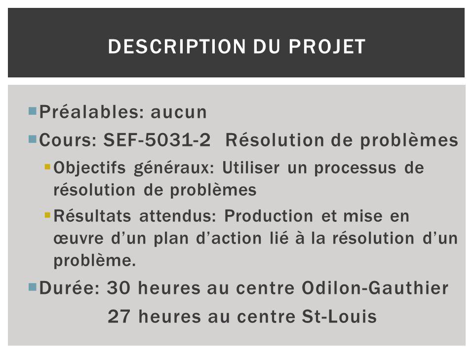 Préalables: aucun Cours: SEF-5031-2 Résolution de problèmes Objectifs généraux: Utiliser un processus de résolution de problèmes Résultats attendus: P