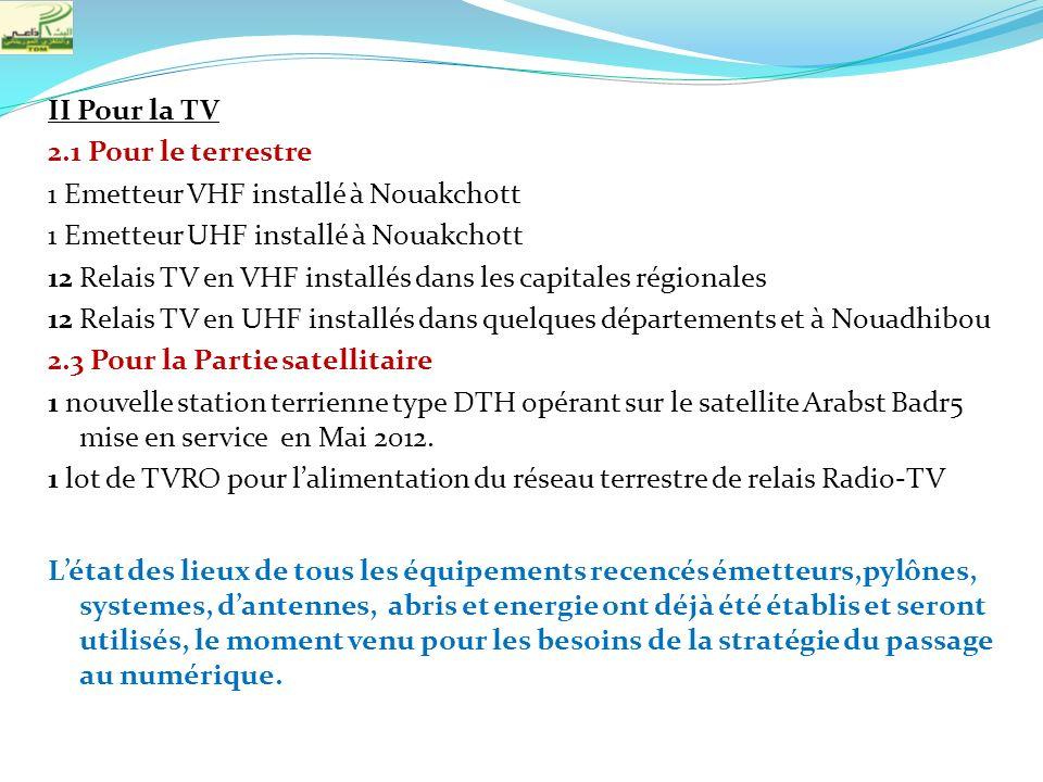 II Pour la TV 2.1 Pour le terrestre 1 Emetteur VHF installé à Nouakchott 1 Emetteur UHF installé à Nouakchott 12 Relais TV en VHF installés dans les c
