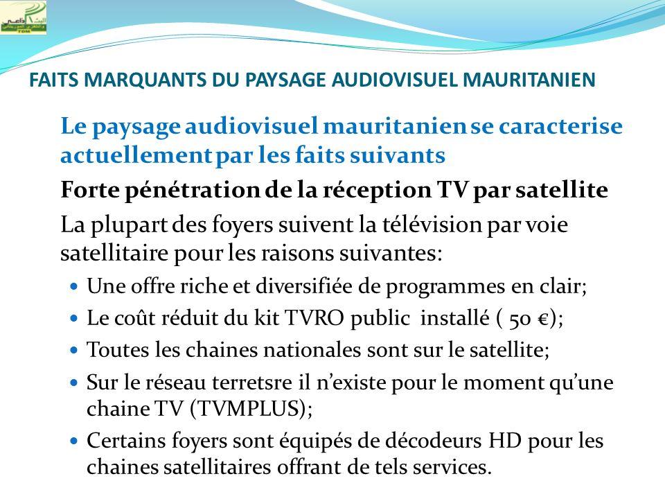 FAITS MARQUANTS DU PAYSAGE AUDIOVISUEL MAURITANIEN Le paysage audiovisuel mauritanien se caracterise actuellement par les faits suivants Forte pénétra
