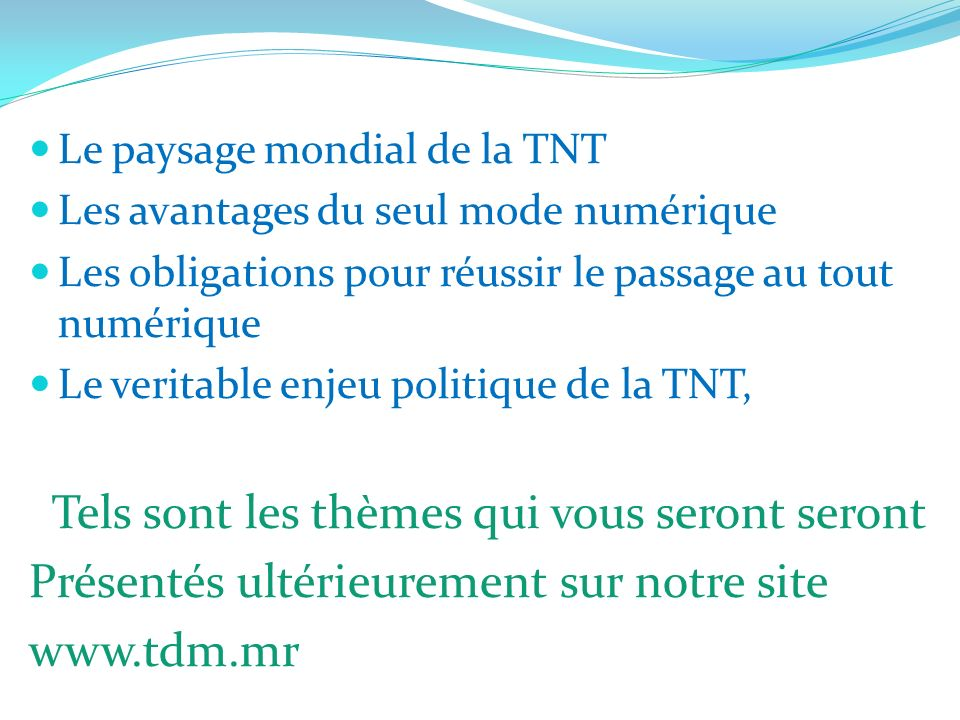 Le paysage mondial de la TNT Les avantages du seul mode numérique Les obligations pour réussir le passage au tout numérique Le veritable enjeu politiq