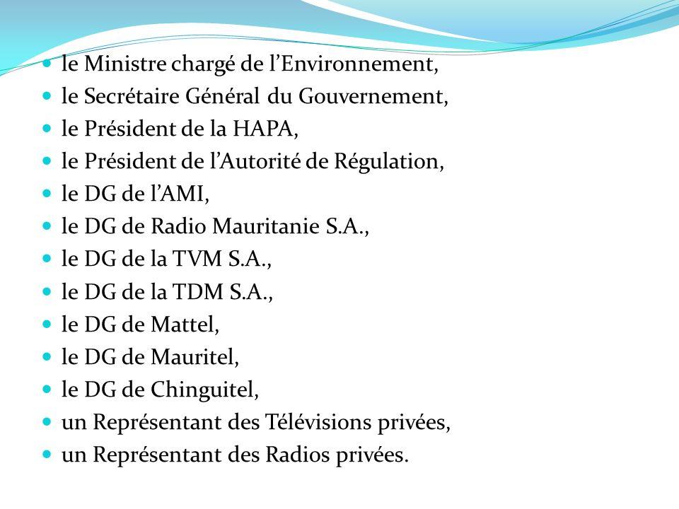 le Ministre chargé de lEnvironnement, le Secrétaire Général du Gouvernement, le Président de la HAPA, le Président de lAutorité de Régulation, le DG d