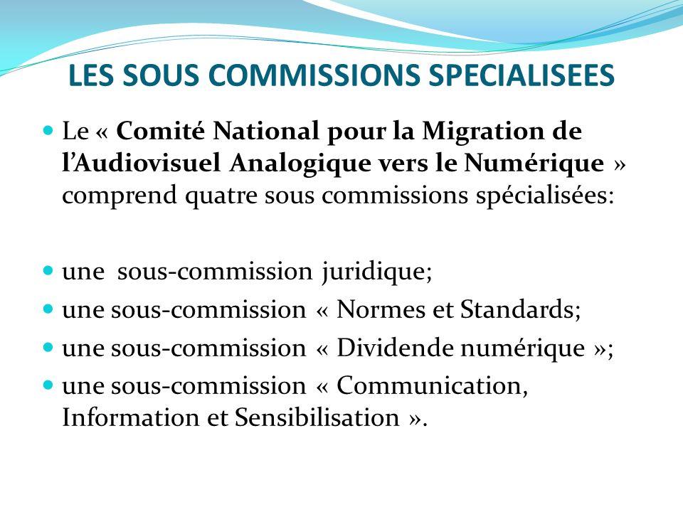 LES SOUS COMMISSIONS SPECIALISEES Le « Comité National pour la Migration de lAudiovisuel Analogique vers le Numérique » comprend quatre sous commissio
