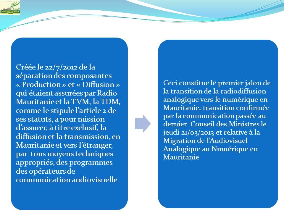 Créée le 22/7/2012 de la séparation des composantes « Production » et « Diffusion » qui étaient assurées par Radio Mauritanie et la TVM, la TDM, comme