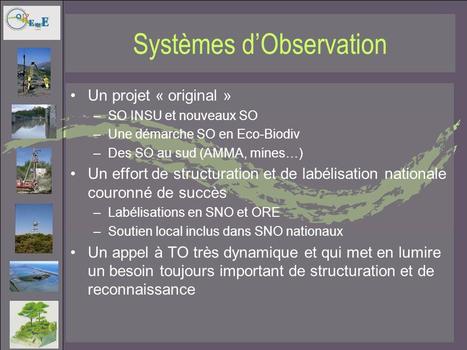 Systèmes dObservation Un projet « original » –SO INSU et nouveaux SO –Une démarche SO en Eco-Biodiv –Des SO au sud (AMMA, mines…) Un effort de structu
