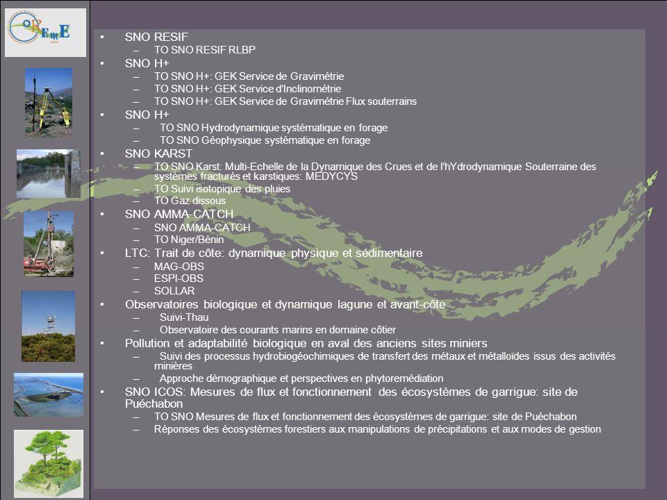 SNO RESIF –TO SNO RESIF RLBP SNO H+ –TO SNO H+: GEK Service de Gravimétrie –TO SNO H+: GEK Service dInclinométrie –TO SNO H+: GEK Service de Gravimétr