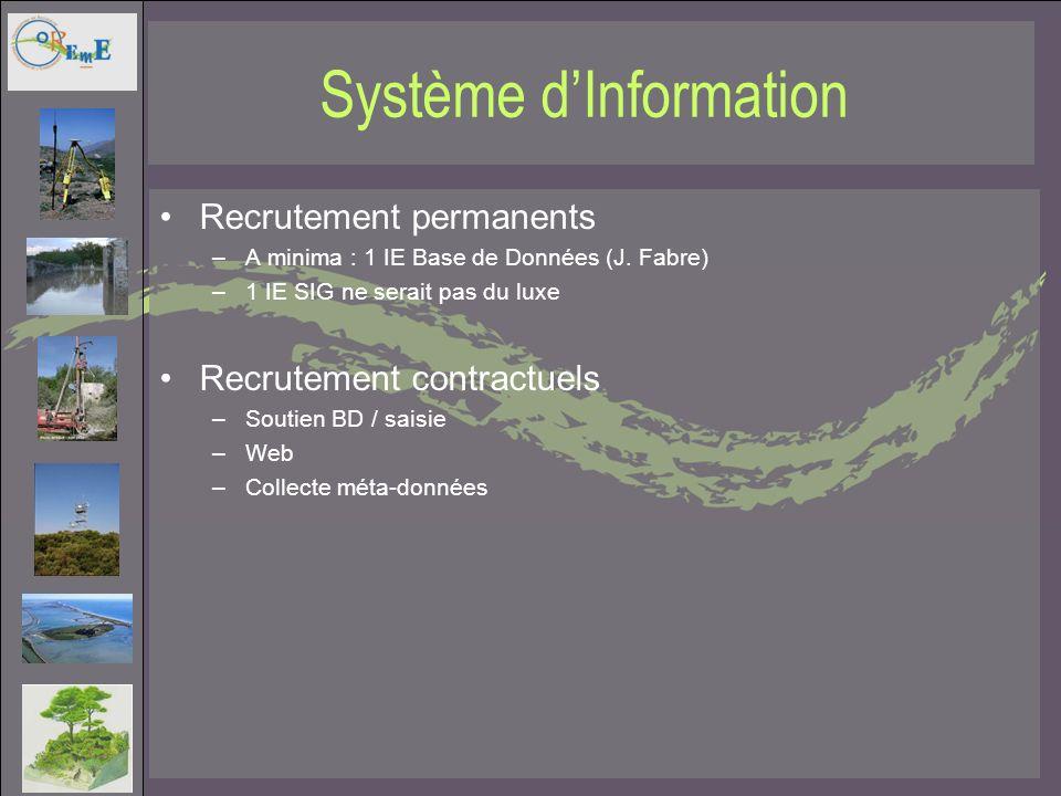 Système dInformation Recrutement permanents –A minima : 1 IE Base de Données (J. Fabre) –1 IE SIG ne serait pas du luxe Recrutement contractuels –Sout