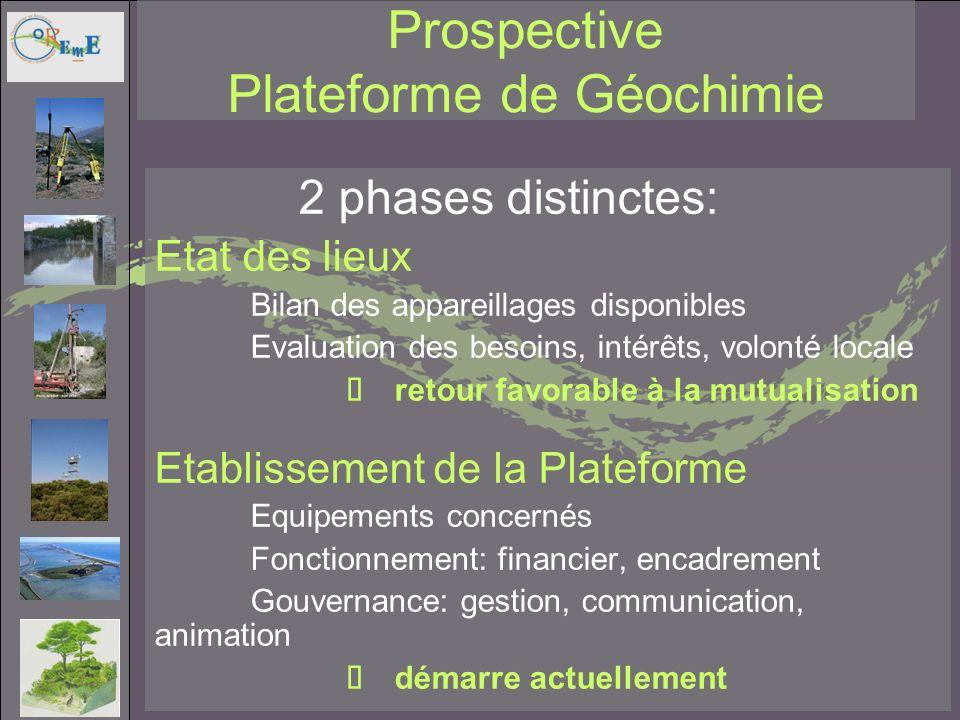 Prospective Plateforme de Géochimie 2 phases distinctes: Etat des lieux Bilan des appareillages disponibles Evaluation des besoins, intérêts, volonté