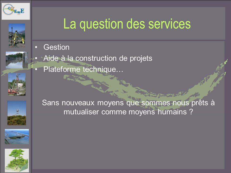 La question des services Gestion Aide à la construction de projets Plateforme technique… Sans nouveaux moyens que sommes nous prêts à mutualiser comme