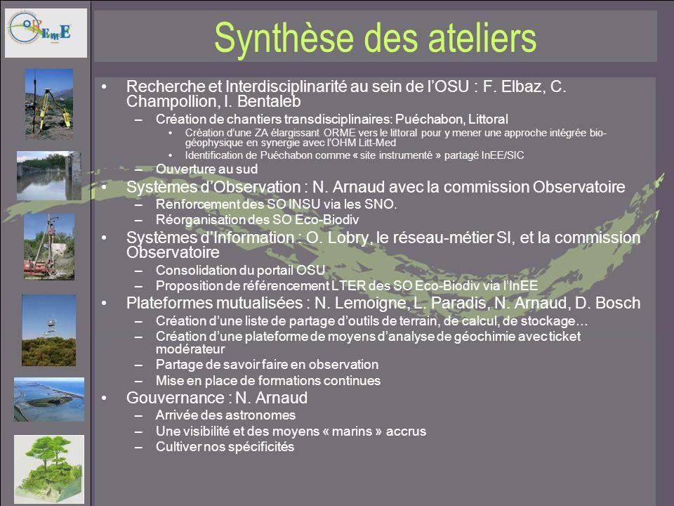 Synthèse des ateliers Recherche et Interdisciplinarité au sein de lOSU : F. Elbaz, C. Champollion, I. Bentaleb –Création de chantiers transdisciplinai