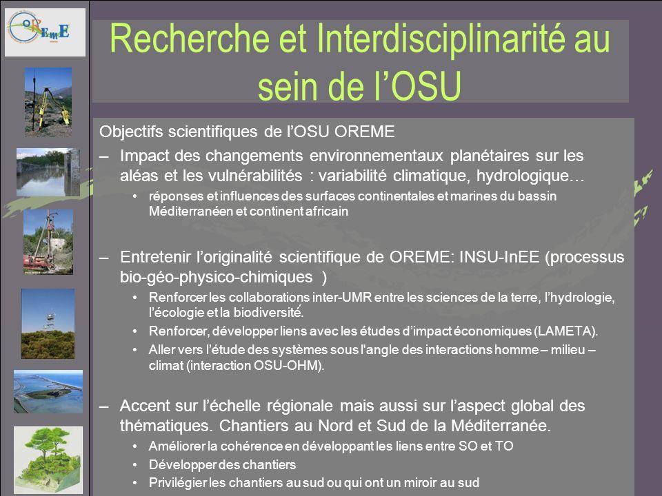 Recherche et Interdisciplinarité au sein de lOSU Linterdisciplinarité passe par un objet détude commun ou une région géographique commune Continuum Terre-Mer Développer et renforcer des chantiers transdisciplinaires: sappuyer sur les SO et TO existants.
