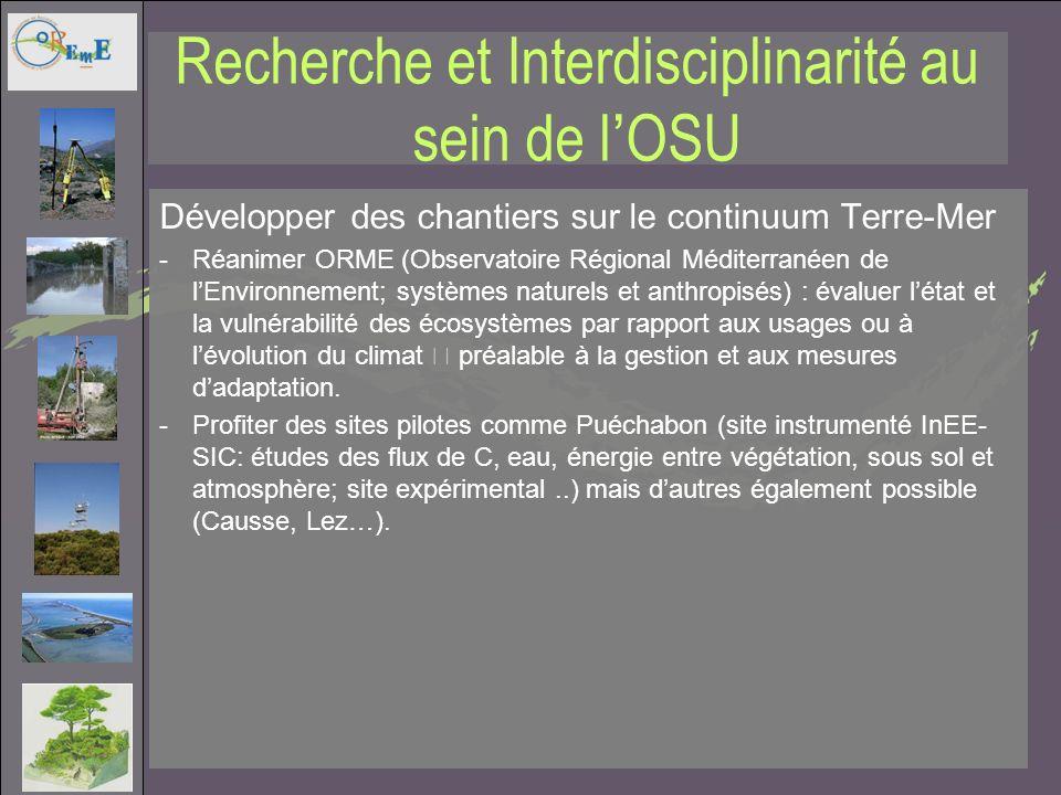 Recherche et Interdisciplinarité au sein de lOSU Développer des chantiers sur le continuum Terre-Mer -Réanimer ORME (Observatoire Régional Méditerrané