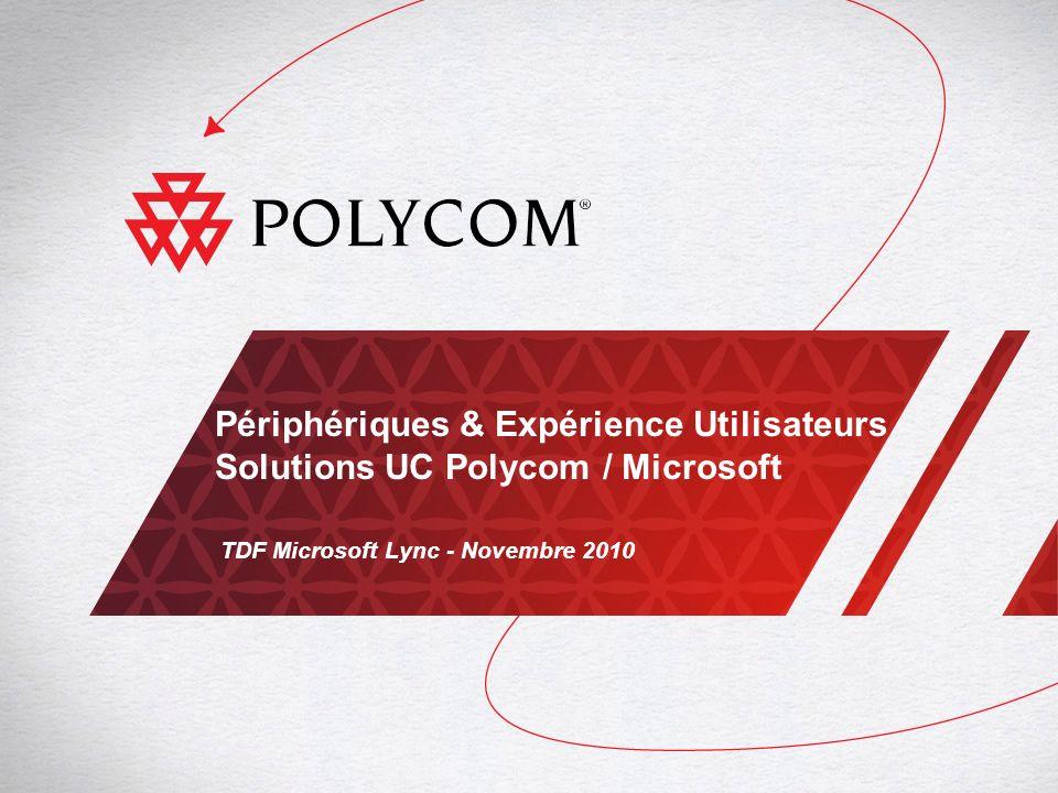 2TDF Microsoft Lync - Communications Unifiées Polycom / Microsoft Portfolio des Solutions Polycom pour plates-formes de Communications Unifiées Microsoft Gamme HDX Systèmes de Visioconférences RPX/OTX/ATX Systèmes de Téléprésence CX5000 Station de conférence unifiée avec vue panoramique Gamme CX Postes UC optimisés pour Lync Server 2010 et OCS 2007 / OCS 2007 R2 DMA Application de gestion et de management RMX Plates-formes de conférence des flux en temps réel