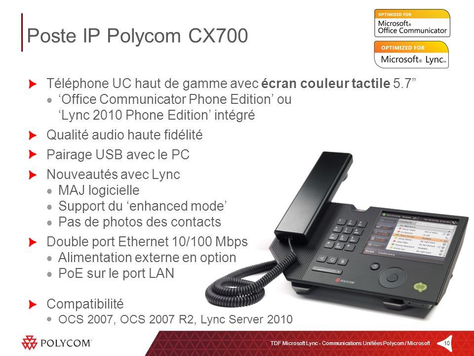 10TDF Microsoft Lync - Communications Unifiées Polycom / Microsoft Téléphone UC haut de gamme avec écran couleur tactile 5.7 Office Communicator Phone