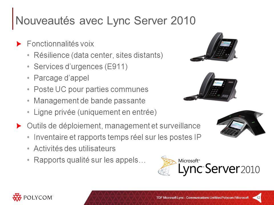 12TDF Microsoft Lync - Communications Unifiées Polycom / Microsoft Fonctionnalités voix Résilience (data center, sites distants) Services durgences (E