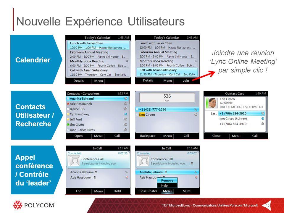 13TDF Microsoft Lync - Communications Unifiées Polycom / Microsoft Nouvelle Expérience Utilisateurs Contacts Utilisateur / Recherche Appel conférence