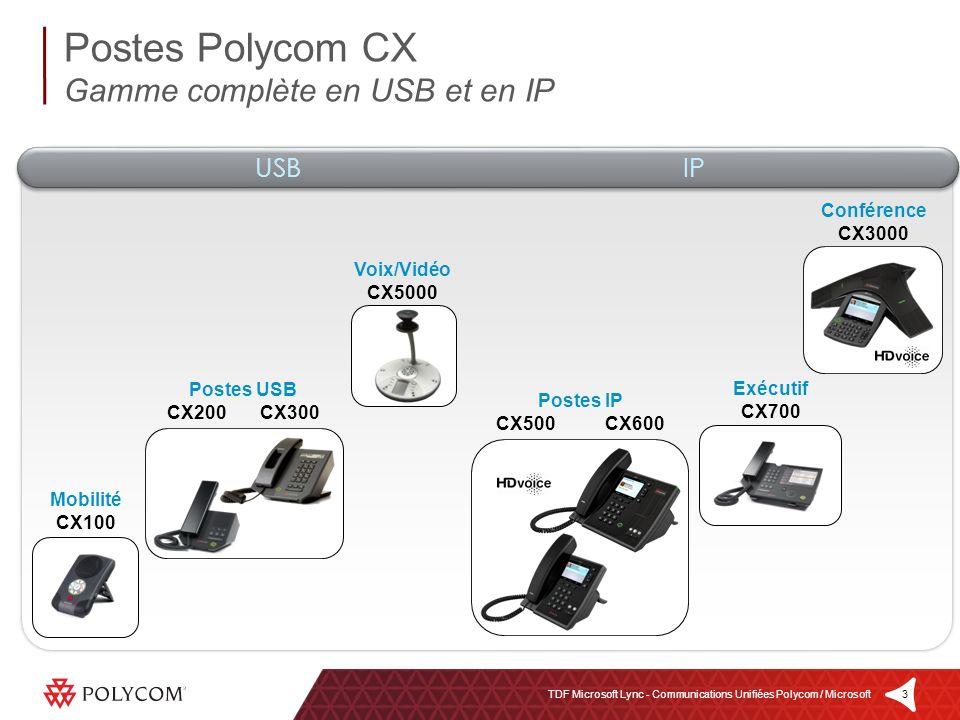 4TDF Microsoft Lync - Communications Unifiées Polycom / Microsoft Périphérique haut-parleur mains libres Deux micros stéréo Qualité audio haute fidélité Connexion et alimentation USB Simplicité dutilisation et portabilité maximales Prise casque (jack 3.5mm) Compatibilité Windows XP, Vista & 7 OCS 2007, OCS 2007 R2, Lync Server 2010 Poste USB Polycom CX100