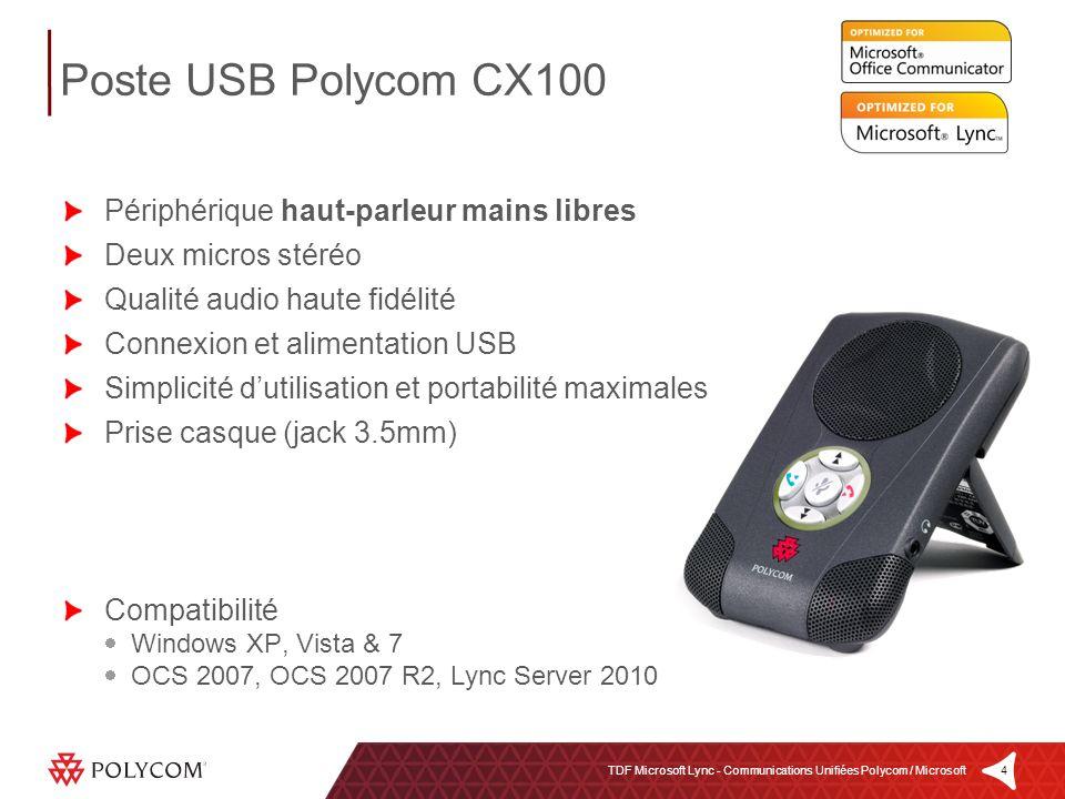 4TDF Microsoft Lync - Communications Unifiées Polycom / Microsoft Périphérique haut-parleur mains libres Deux micros stéréo Qualité audio haute fidéli
