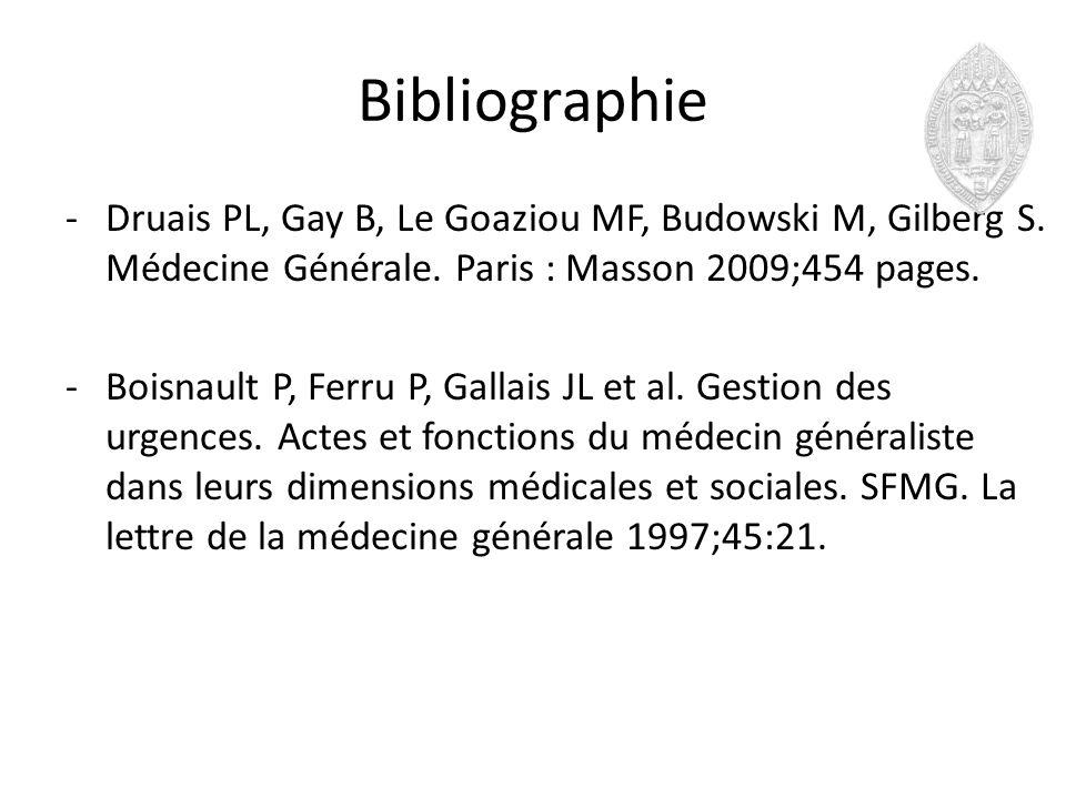 Bibliographie -Druais PL, Gay B, Le Goaziou MF, Budowski M, Gilberg S. Médecine Générale. Paris : Masson 2009;454 pages. -Boisnault P, Ferru P, Gallai