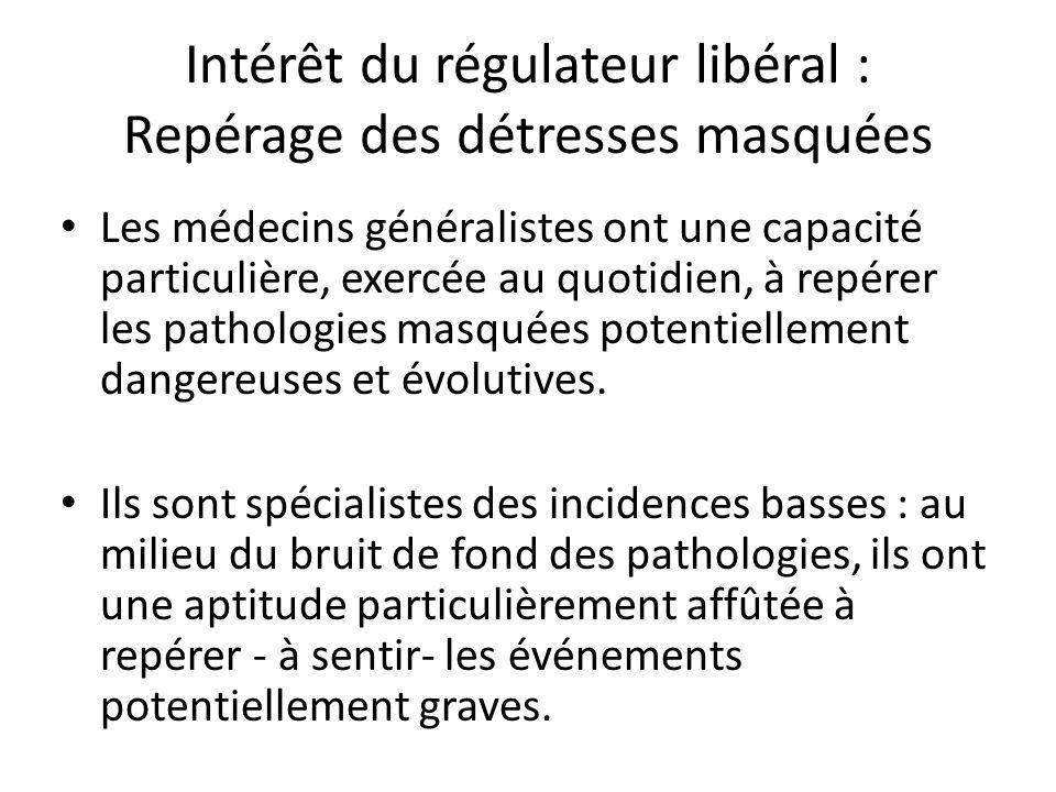 Intérêt du régulateur libéral : Repérage des détresses masquées Les médecins généralistes ont une capacité particulière, exercée au quotidien, à repér