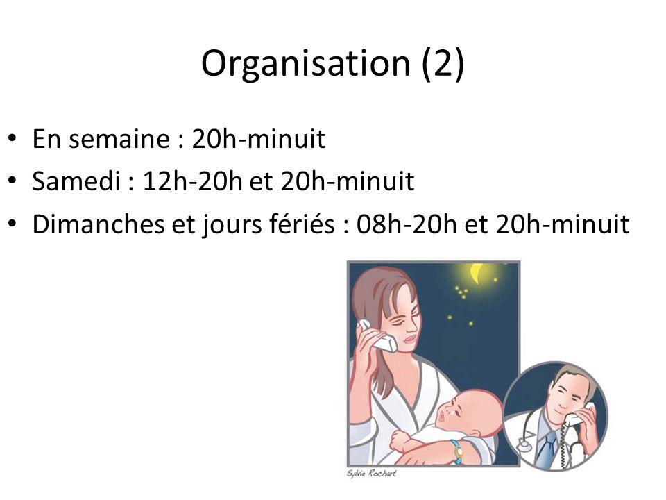 Organisation (2) En semaine : 20h-minuit Samedi : 12h-20h et 20h-minuit Dimanches et jours fériés : 08h-20h et 20h-minuit