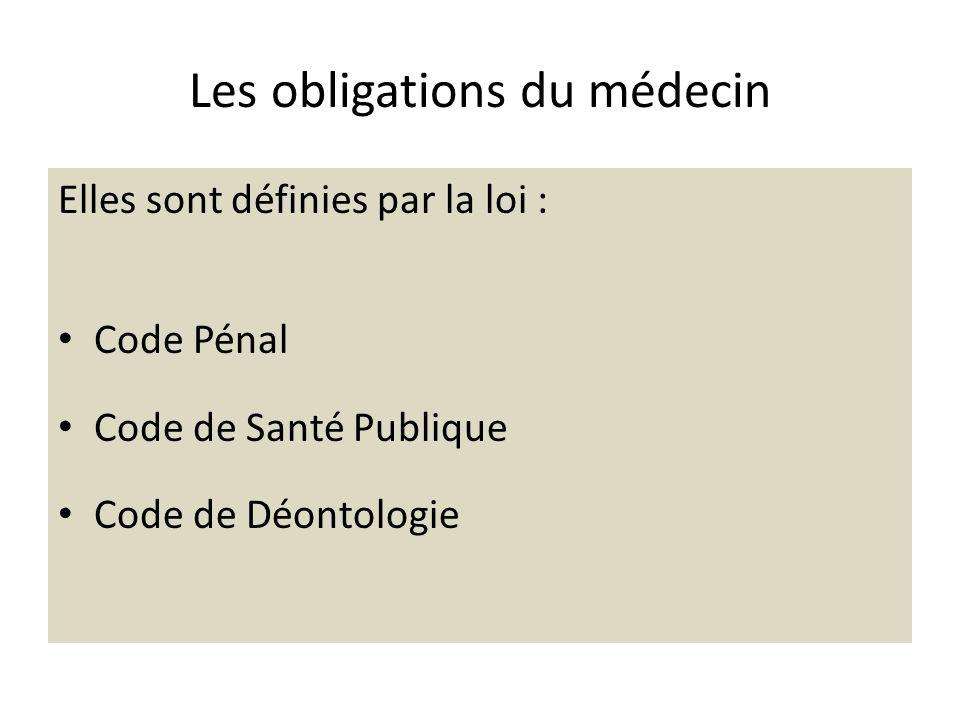 Les obligations du médecin Elles sont définies par la loi : Code Pénal Code de Santé Publique Code de Déontologie