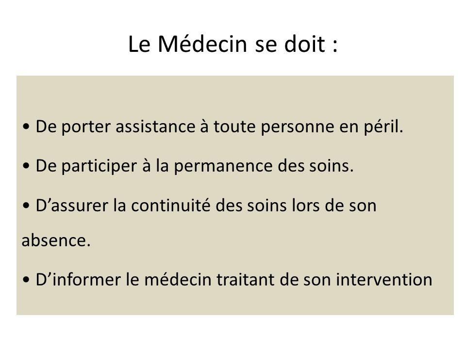 Le Médecin se doit : De porter assistance à toute personne en péril. De participer à la permanence des soins. Dassurer la continuité des soins lors de