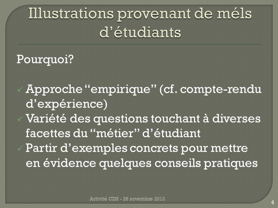 Question: Réponse: Commentaire: Registre, personnalisation, relation collaborative Activité CDS - 26 novembre 2013 5