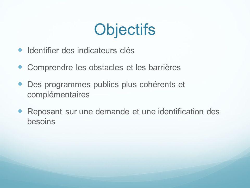 Objectifs Identifier des indicateurs clés Comprendre les obstacles et les barrières Des programmes publics plus cohérents et complémentaires Reposant sur une demande et une identification des besoins