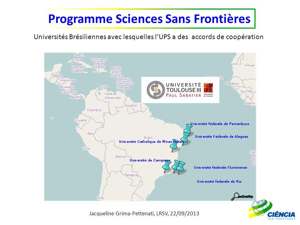 Jacqueline Grima-Pettenati, LRSV, 22/09/2013 Programme Sciences Sans Frontières Universités Brésiliennes avec lesquelles lUPS a des accords de coopéra