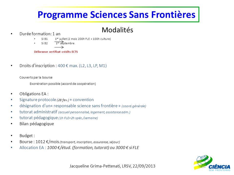 Jacqueline Grima-Pettenati, LRSV, 22/09/2013 Programme Sciences Sans Frontières Modalités Durée formation: 1 an Si B1 1 er juillet (2 mois 200h FLE +