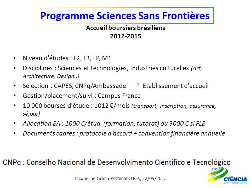 Jacqueline Grima-Pettenati, LRSV, 22/09/2013 Programme Sciences Sans Frontières Accueil boursiers brésiliens 2012-2015 Niveau détudes : L2, L3, LP, M1