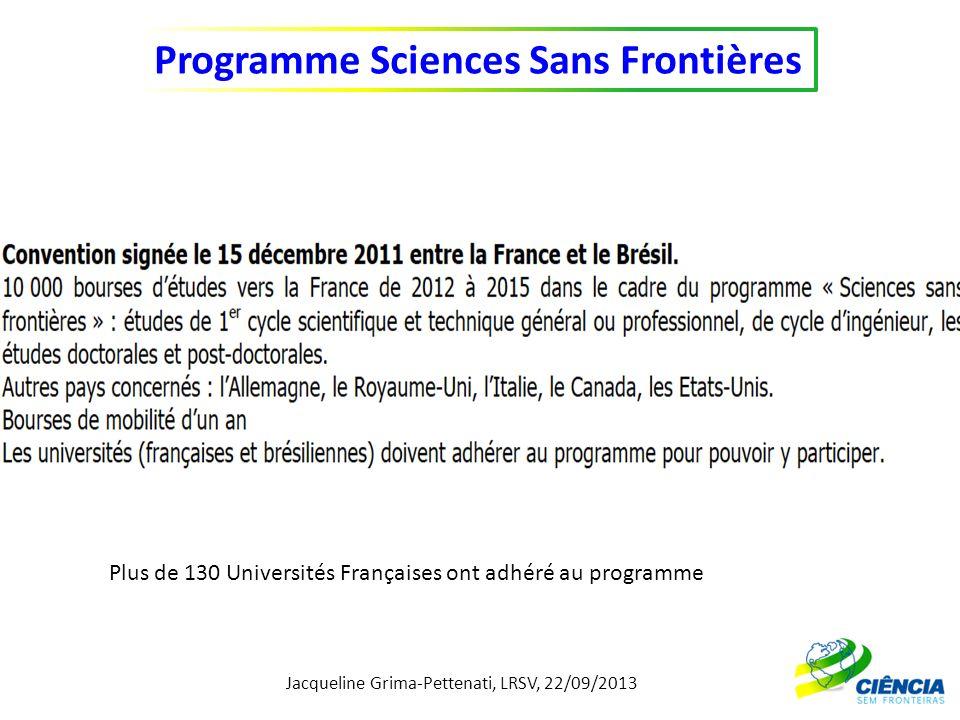 Jacqueline Grima-Pettenati, LRSV, 22/09/2013 Programme Sciences Sans Frontières Plus de 130 Universités Françaises ont adhéré au programme