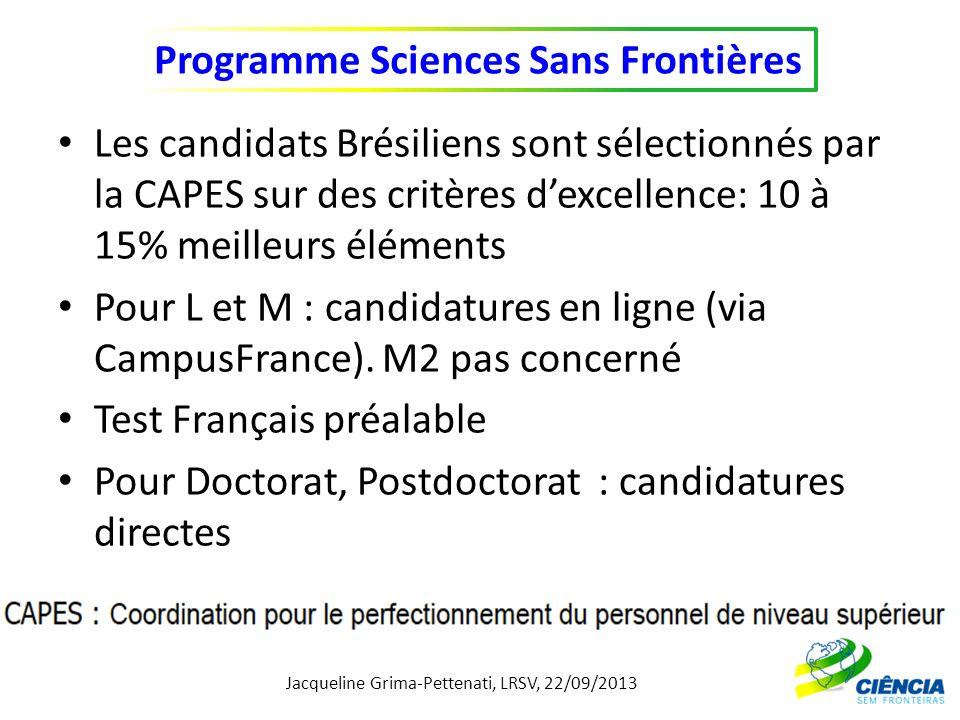 Jacqueline Grima-Pettenati, LRSV, 22/09/2013 Programme Sciences Sans Frontières » Procédure de Sélection Appel à candidatures auprès des étudiants (choix pays et thématiques) Pré-sélection des dossiers (CAPES, CNPq/Ambassade): 522 dossiers recevables sur 800 (en 2012).