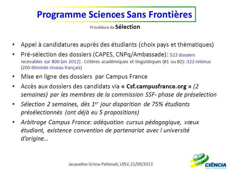 Jacqueline Grima-Pettenati, LRSV, 22/09/2013 Programme Sciences Sans Frontières » Procédure de Sélection Appel à candidatures auprès des étudiants (ch