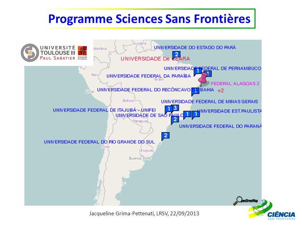 Jacqueline Grima-Pettenati, LRSV, 22/09/2013 Programme Sciences Sans Frontières http://www.diplomatie.gouv.fr/fr/IMG/pdf/Fiche_Curie_Bresil.pdf