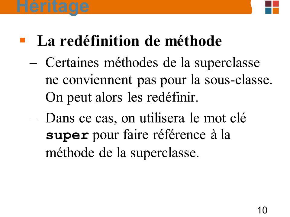 10 La redéfinition de méthode –Certaines méthodes de la superclasse ne conviennent pas pour la sous-classe. On peut alors les redéfinir. –Dans ce cas,